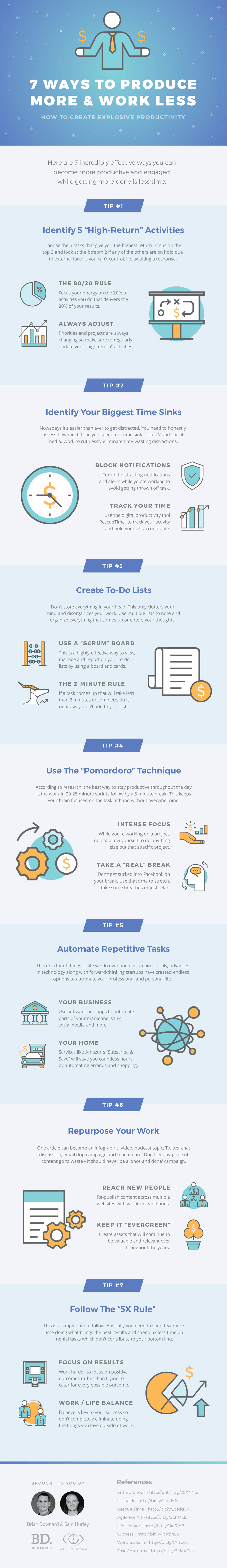 7 Ways To Produce More & Work Less - Infographic